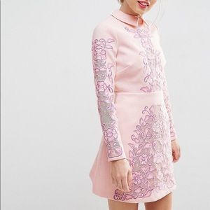ASOS SALON Cutwork scallop back aline mini dress